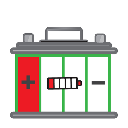 Car battery is almost out of power or Car battery is almost flat with simple vector design - Car battery out of power of concept