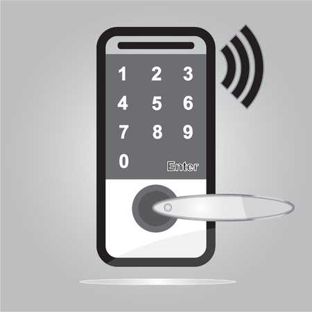 Digital door lock with wireless technology for unlock with simple vector design - Security smart home of concept Illustration