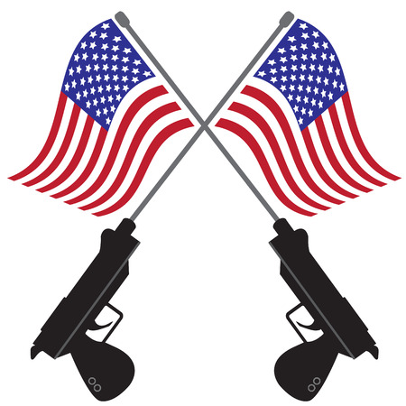 gun control: USA flags and twin guns on isolated white background with simple vector design Illustration