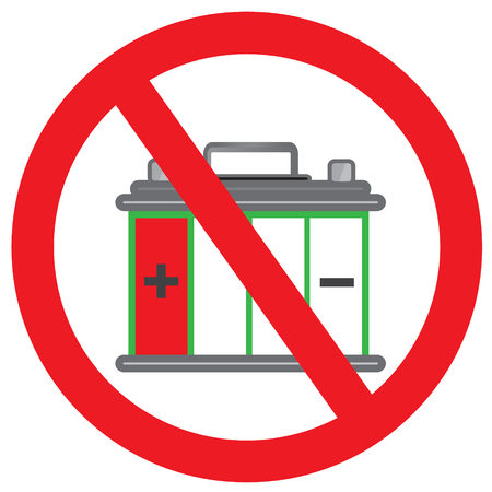 NO car battery out of power sign symbol or Car battery is almost flat with simple vector design - Car battery out of power of concept Illustration