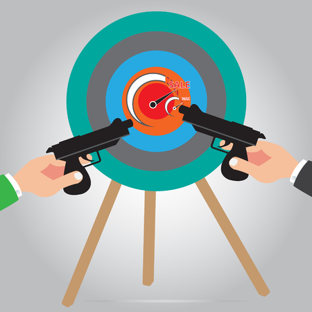 Max level of sales concept on archery target design with two hand holding the gun simple vector - Point of sale concept Illustration