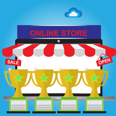 salesman: Sales champion of E-Commerce web site using for shopping online by customer or Online shoping Concept Illustration