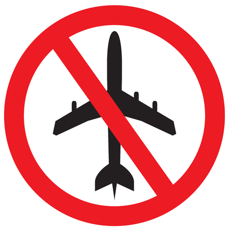No flying symbol on white background with prohibit sign vector on isolated white background