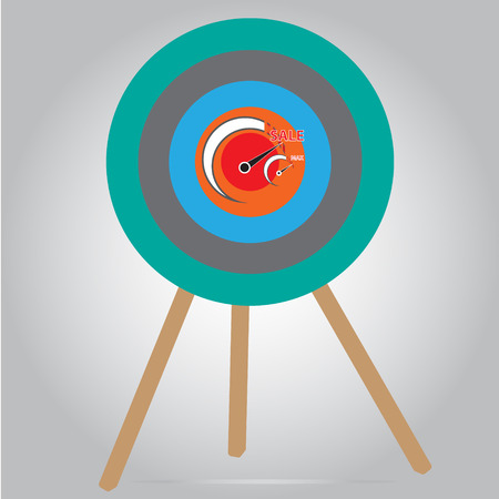 Max level of sales concept on archery target design with simple vector - Point of sale concept
