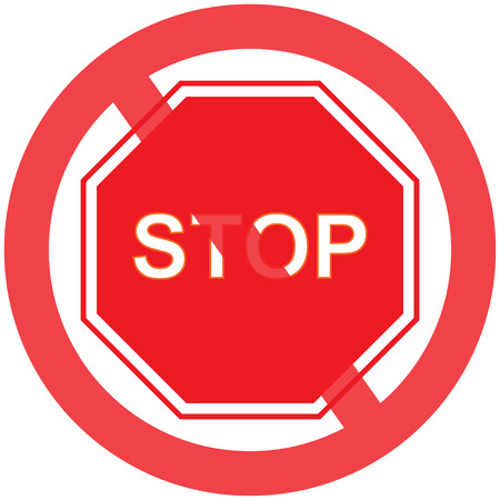 Vector stop sign icon or Red stop sign icon with text flat icon symbol with simple vector design