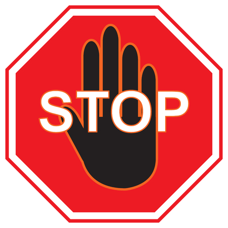 Vector stop sign icon or Red stop sign icon with text flat icon and black hand symbol with simple vector design Illustration
