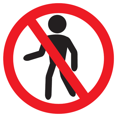 Person walk warning stop sign symbol or STOP or No entry with red stop with vector design Illustration