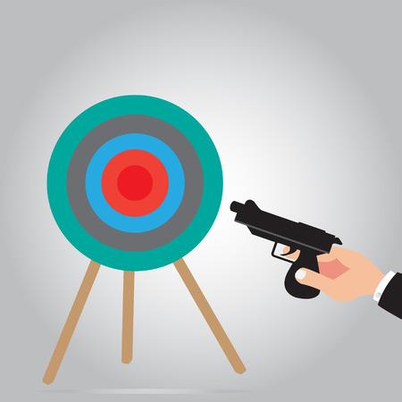 Hand holding gun for shoot target of business concept - Goal Solution Concept - Business Target of goal setting or Smart goal with illustration design Illustration