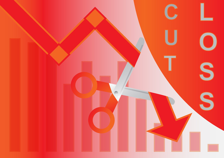 Cut loss of concept in the stock market design with simple vector Illustration