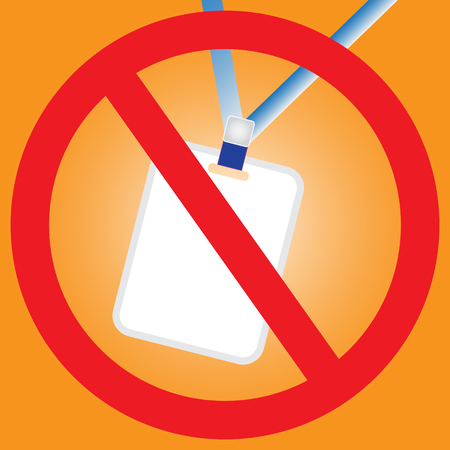 No staff card - No entry sign symbol design with simple vector - Security of concept