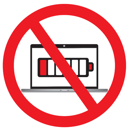 NO sign symbol of laptop is almost out of power or laptop is almost flat with simple vector design - laptop out of power of concept Stock Vector - 87872232