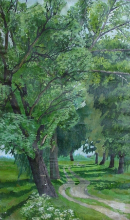Original artwork of painting Parkway Poplars with the road and poplars tree on both sides photo
