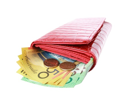 australian money: Red leather wallet with Aussie banknotes and coins