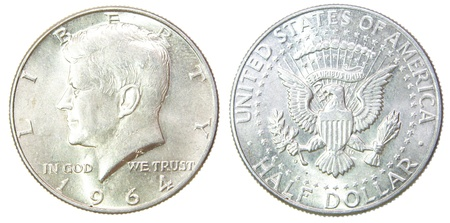 silver state: USA Half Dollar 1964 Kennedy Liberty Silver coin