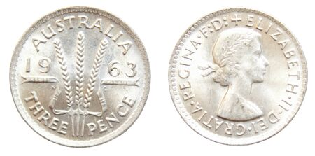 1963 Australian Threepence pre-decimal 50% silver coin isolated on white Stock Photo - 15805970
