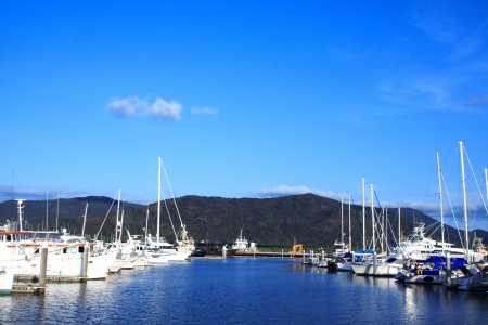 Yachts in the bay on blue-sky background Stock Photo - 17071793