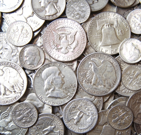 antique coins: Stacks of USA Silver coins background