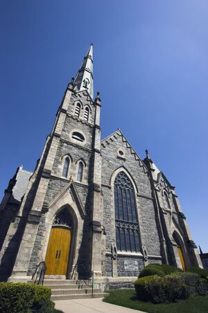 high priest: wide angle view of a church on a sunny day Stock Photo