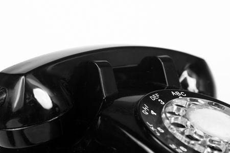 Top of vintage 1960s black telephone in B&W