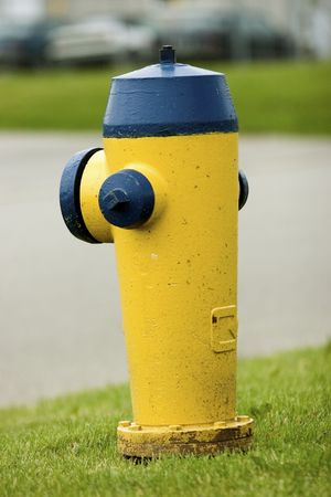 Yellow and blue fire hydrant Stock Photo