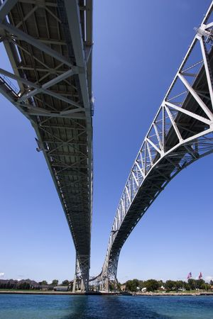 Wide angle view of the the Bluewater Bridge from underneath crossing into Port Huron, Michigan from Point Edwards, Ontario. Stock Photo