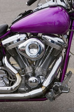 Motorcycle with purple tank