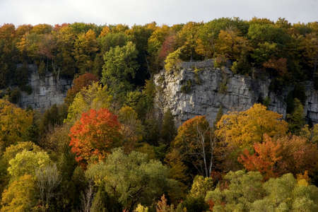 Cliffs of Rattlesnake Point in autumn  Stock Photo