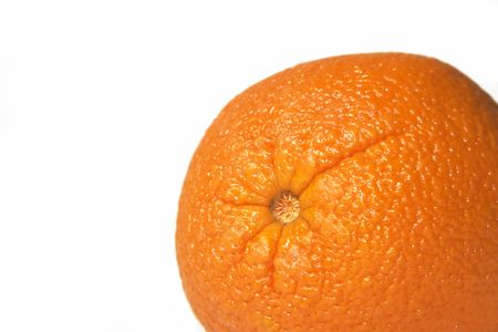 Top of an orange against a white background with copy-space