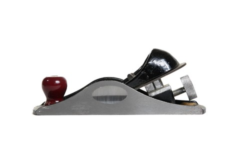 Old hand plane with dings and scratches isolated against white.