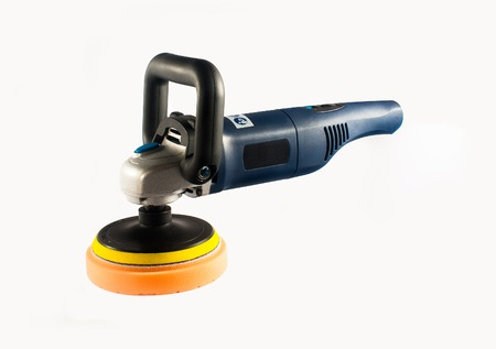 Car polishing machine with buffing plate isolated photo