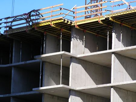 concrete form: Reinforced concrete construction, building site