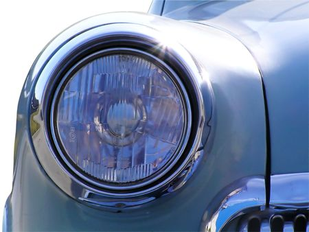 Classic and vintage cars - headlight close-up 1950s photo
