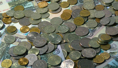 amounts: Photo of Various Rubles Bills and Amounts - Money Background Stock Photo