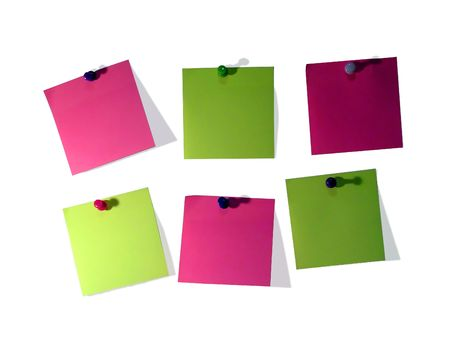 A different color post it note and pins isolated on white background Stock Photo