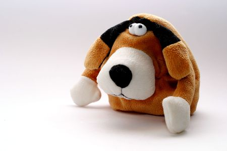 shop for animals: A toy - a soft, childrens dog (The darling) Stock Photo