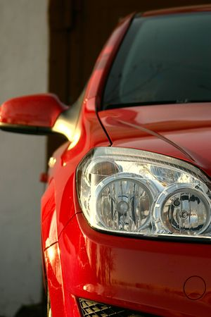 Red Sport Car - Front side, half. photo