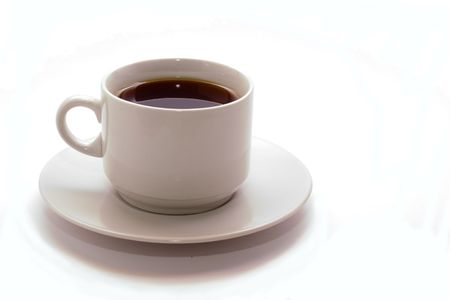 White cup of black cofee isolated on white background photo