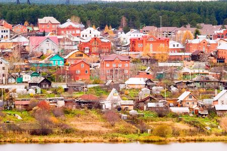 A general view of town.Home gardens Stock Photo - 3717193