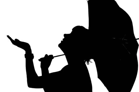 Silhouette of a girl with an umbrella photo