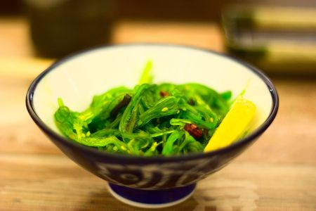 Japanese food: salad plate close-up photo