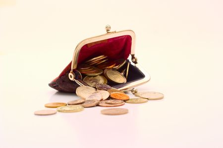 Wallet with coins on a white backgro Stock Photo - 3758898