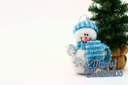 cristmas card: Cristmas card with snowman and cristmas-tree Stock Photo