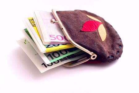 Purse full of euros isolated on a white background photo