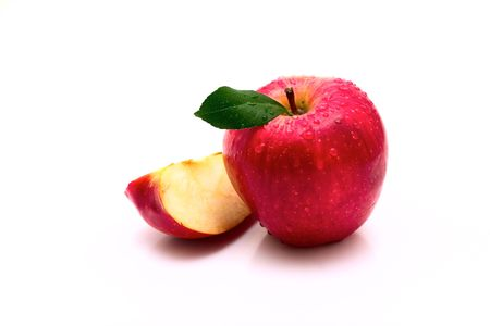 Red apple with warter drop on white background photo