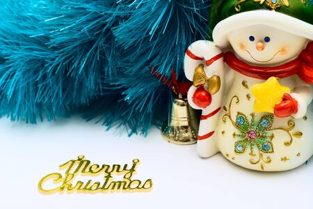 cristmas card: Cristmas card with snowman Stock Photo