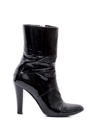 Womens patent leather boot with a heel photo