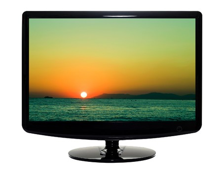 The modern TV with the flat screen. It is isolated. Studio light. Stock Photo