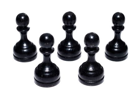 recive: Teamwork concept. Chess figures bishops. Isolated on a white background. Studio work.