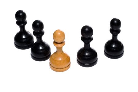 recive: Leadership concept. Chess figures bishops. Isolated on a white background. Studio work.