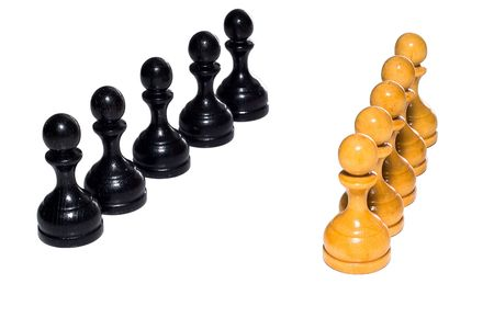 recive: Chess figures bishops, concept of competition. Chess figures bishops. Isolated on a white background. Studio work.